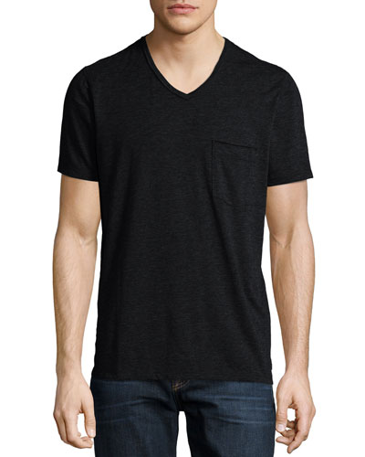 Raw-Edge V-Neck Knit Tee, Charcoal