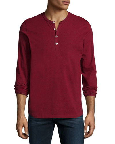 Long-Sleeve Henley Shirt, Crimson