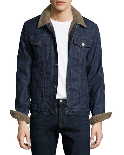 Faux-Fur-Lined Denim Jacket, Indigo