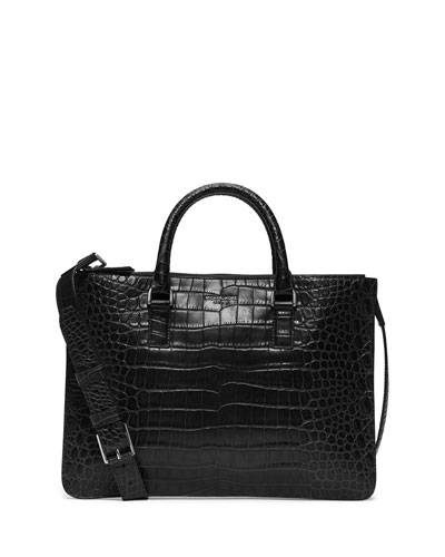 Bryant Crocodile-Embossed Slim Briefcase, Black