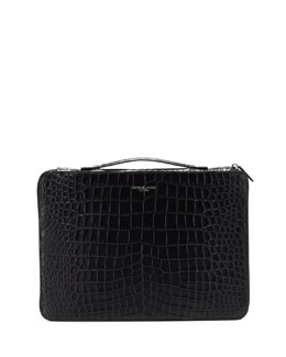 Bryant Crocodile Embossed Leather Laptop Case, Black