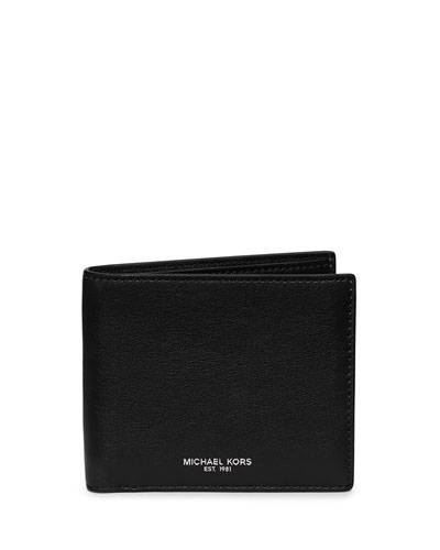 Dylan Milled Leather Bifold Wallet, Black