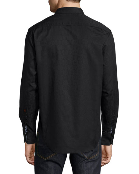 Cullen Jacquard Long-Sleeve Sport Shirt, Black