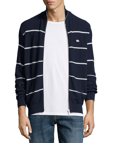 Striped Jersey Zip-Up Sweater, Navy