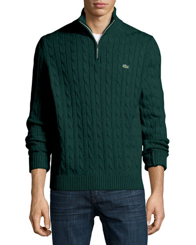 Cable-Knit Cotton V-Neck Sweater, Green