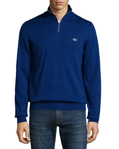 Half-Zip Jersey Knit Sweatshirt, Blue