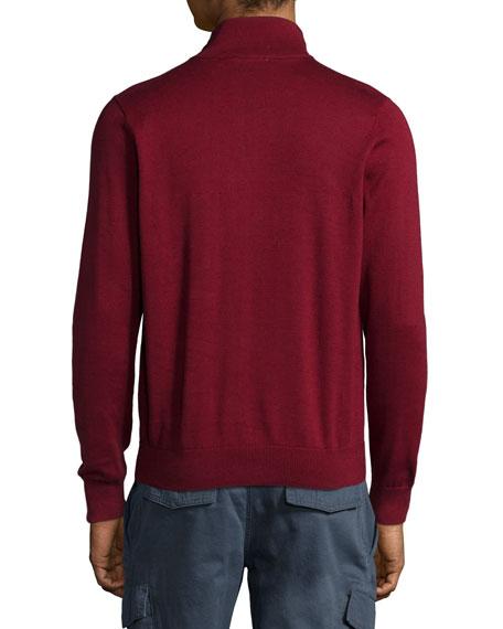 Knitting Pattern Half Zip Sweater : Lacoste Half-Zip Knit Pullover Sweater, Dark Red