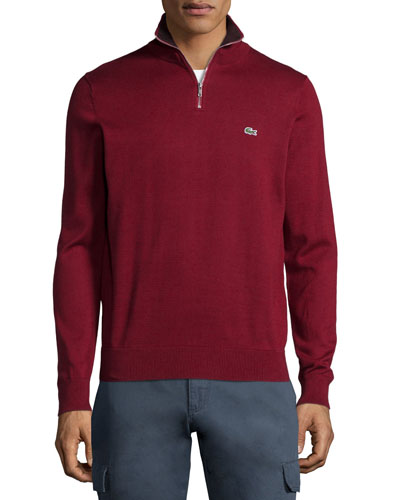 Half-Zip Knit Pullover Sweater, Dark Red