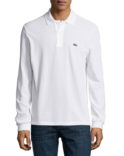 Long-Sleeve Classic Pique Polo, White