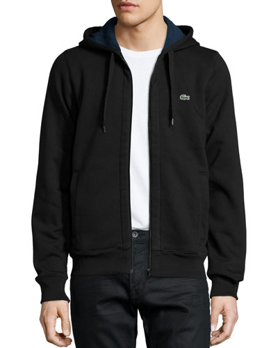 Full-Zip Fleece Hoodie, Black