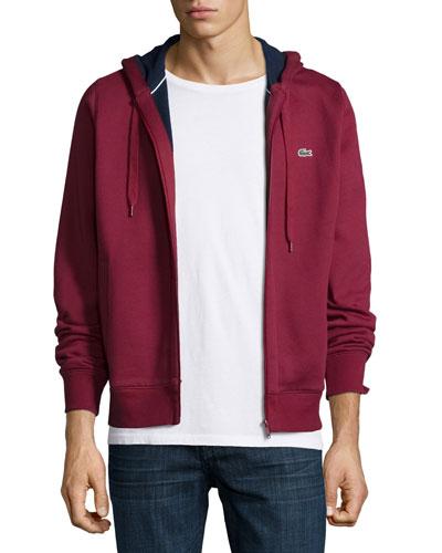 Full-Zip Fleece Hoodie, Dark Red