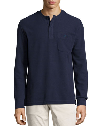 Waffle-Knit Long-Sleeve Henley Shirt, Navy
