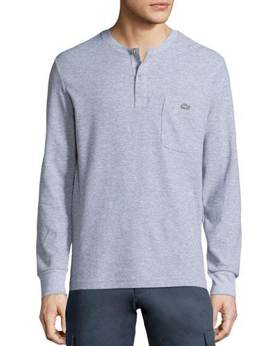Waffle-Knit Long-Sleeves Henley Shirt, Gray