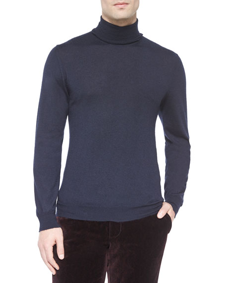 Etro Solid Cashmere Turtleneck Sweater, Navy