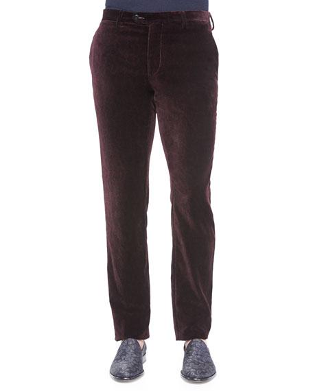 Etro Printed Velvet Pants, Burgundy