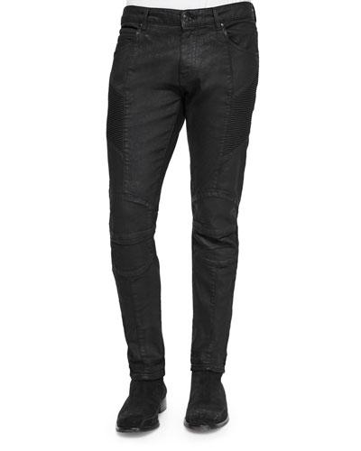 Five-Pocket Coated Moto Jeans
