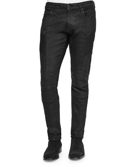 Pierre Balmain Five-Pocket Coated Moto Jeans