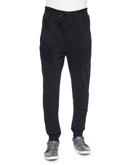 Pierre Balmain Drawstring Moto Sweatpants, Black