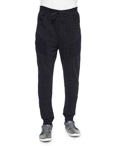 Pierre Balmain Drawstring Moto Sweatpants, Black
