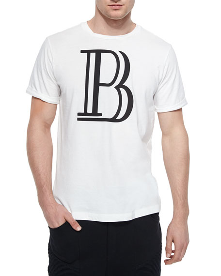 Pierre Balmain Large-B Logo Graphic Tee, White