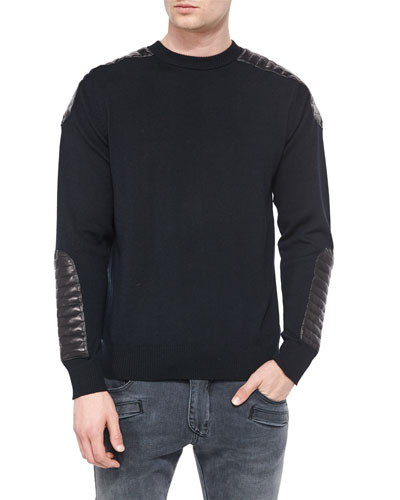 Crewneck Sweater with Quilted Leather Details, Black