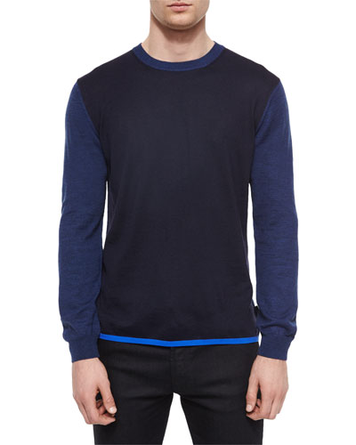 Colorblock Wool-Blend Sweater, Navy