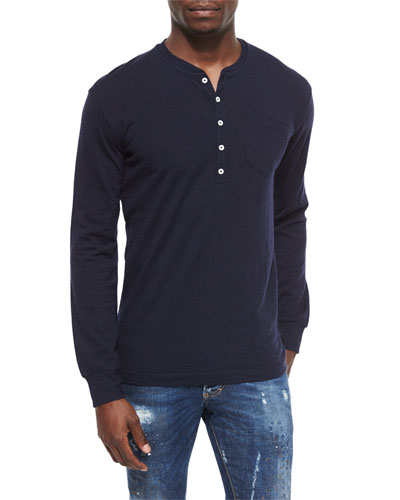Long-Sleeve Knit Henley Tee, Navy