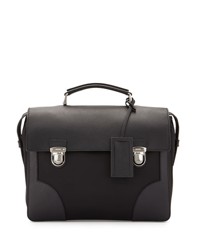 Runway Flap-Top Small Saffiano Briefcase, Black