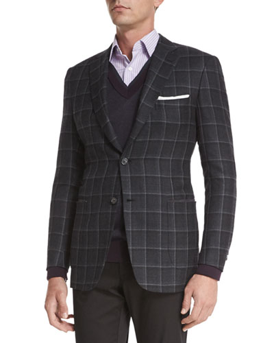 Windowpane Two-Button Jacket, Gray