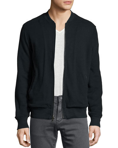 Full-Zip Cotton Jacket, Black