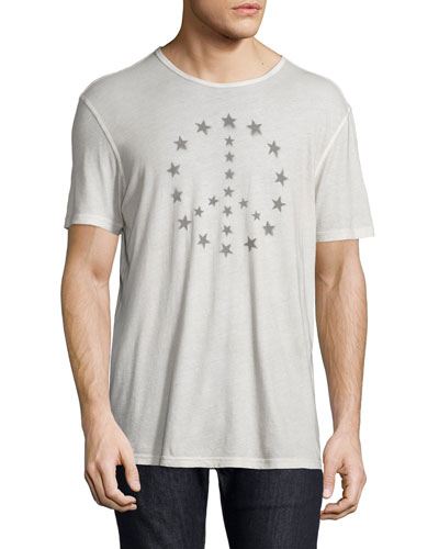 Peace & Stars Graphic Tee, White