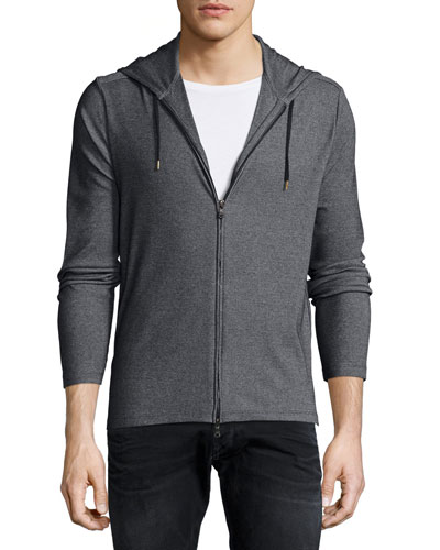 Two-Way Zip Hoodie, Black