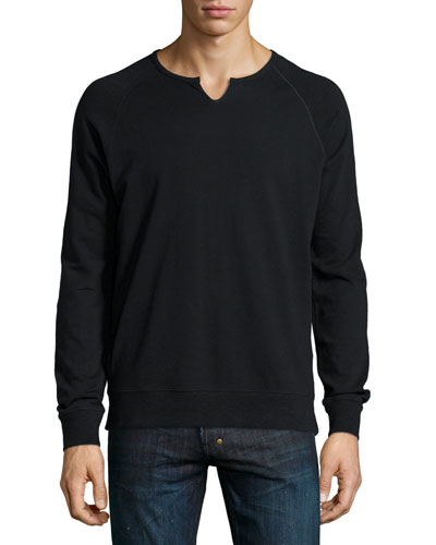 Solid Raglan-Sleeve Knit Sweatshirt, Black