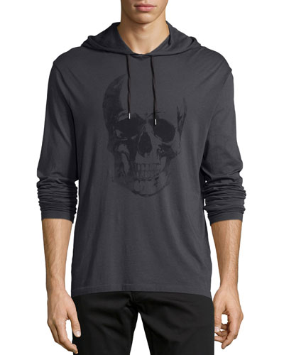 Painted Skull-Graphic Hooded Sweater, Black