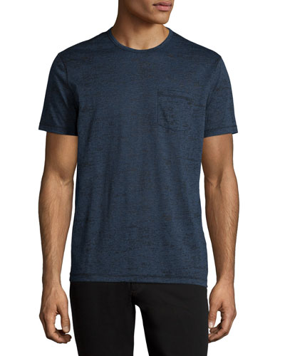 Burnout Short-Sleeve Crewneck Tee, Blue