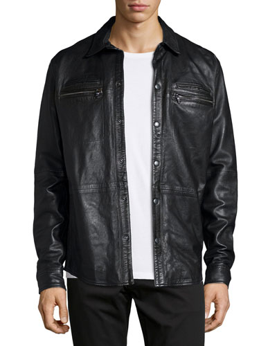 Zip-Pocket Leather Shirt Jacket, Black
