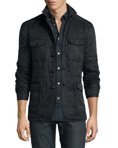 Quilted Button-Down Utility Jacket, Black