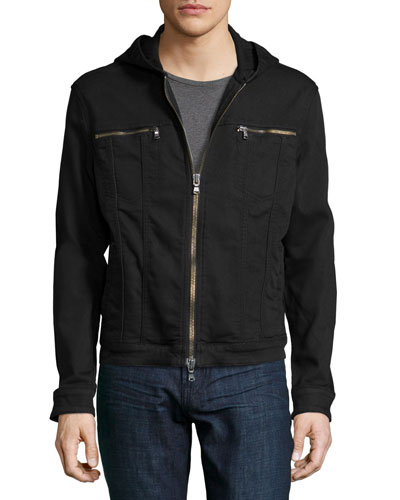 Zip-Up Hooded Jean Jacket, Black