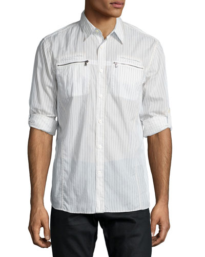 Double-Zip Pocket Roll-Tab Shirt, White