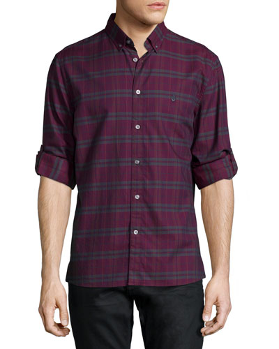 Oxblood Plaid Long-Sleeve Sport Shirt, Burgundy