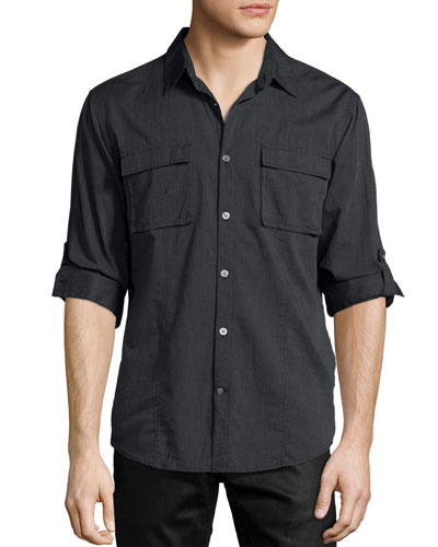Utility-Pocket Roll-Tab Cotton Shirt, Gray
