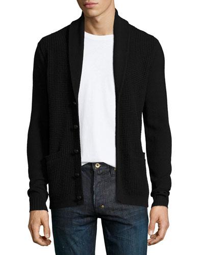 Shawl-Collar Waffle-Knit Cardigan, Black