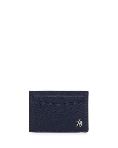 dunhill Bourdon Leather Card Case, Blue