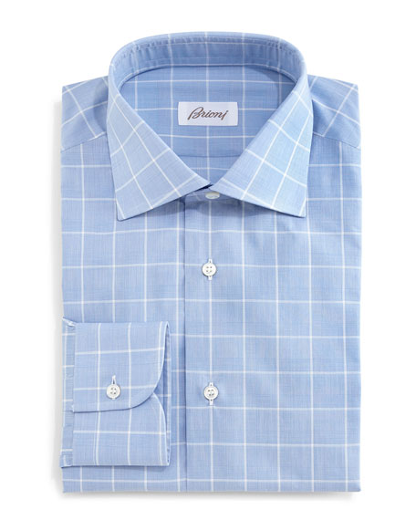 brioni large windowpane glen plaid dress shirt blue