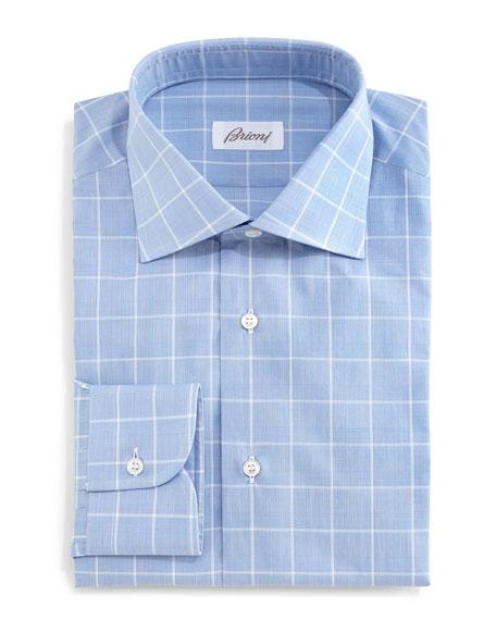 brioni large windowpane glen plaid dress shirt blue
