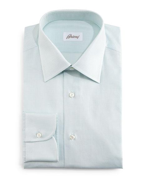 Brioni Tonal Textured Dress Shirt, Mint