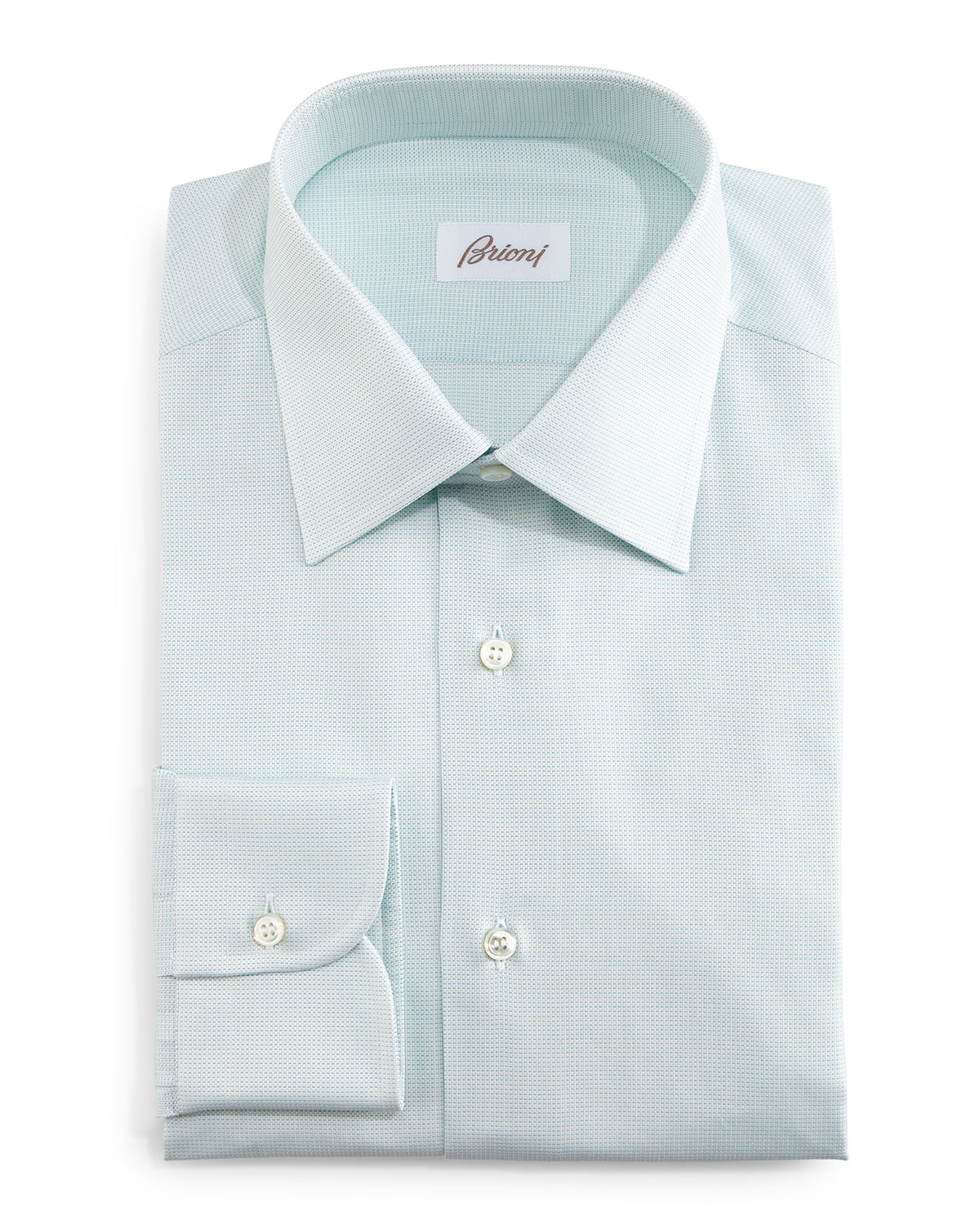 Brioni Tonal Textured Dress Shirt Mint Neiman Marcus