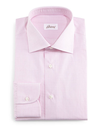Grid Box-Check Dress Shirt, Pink