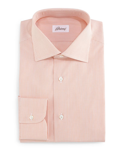 Micro-Check Dress Shirt, Orange