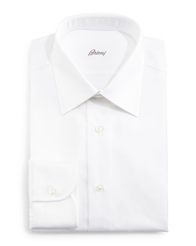 Herringbone-Stripe Dress Shirt, White